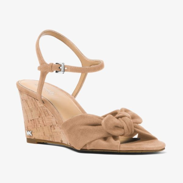 MICHAEL Michael Kors Pippa Suede Wedge in natural - Suede Construction And A Feminine Knotted Detail Offset...