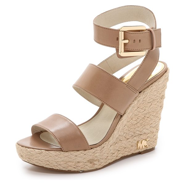 MICHAEL Michael Kors Poesy wedge sandals in dark khaki - Braided raffia covers the wedge and platform of these...
