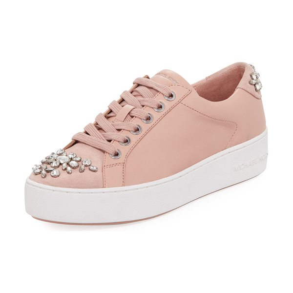 MICHAEL MICHAEL KORS Poppy Crystal-Embellished Sneaker - MICHAEL Michael Kors leather low-top sneaker with suede...