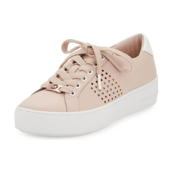 "MICHAEL Michael Kors Poppy Perforated Leather Low-Top Sneaker in pink - MICHAEL Michael Kors ""Poppy"" leather low-top sneaker..."