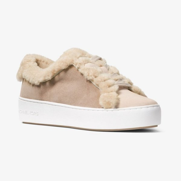 MICHAEL Michael Kors Poppy Suede And Shearling Sneaker in natural - A Statement-Making Addition To Any Off-Duty Wardrobe Our...