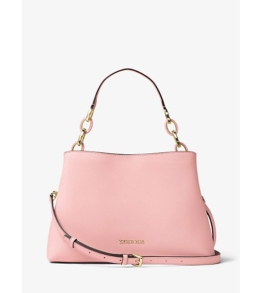 MICHAEL Michael Kors Portia Large Saffiano Leather Shoulder Bag in pink - A Study In Easy Over-The-Shoulder Style This Luxe Bag Is...