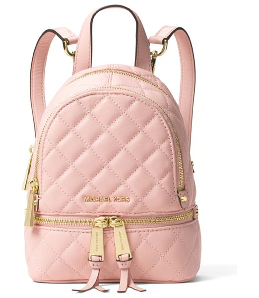 MICHAEL MICHAEL KORS Quilted leather backpack in blossom - On-trend mini backpack, with chic glossy hardwareTop...