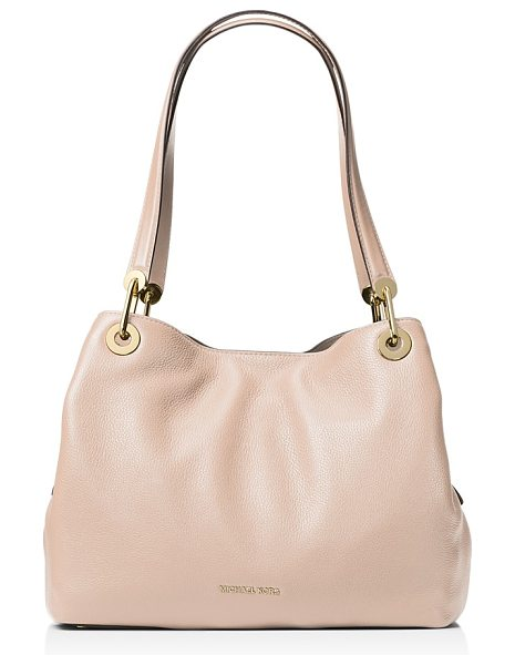 MICHAEL Michael Kors Raven Large Pebbled Leather Shoulder Tote in soft pink/gold - Michael Michael Kors Raven Large Pebbled Leather...