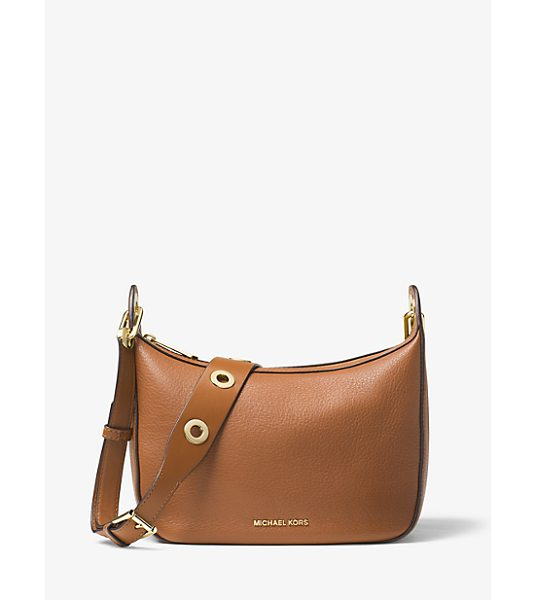 MICHAEL Michael Kors Raven Medium Leather Messenger Bag in brown - Featuring A Boho-Chic Sensibility Our Raven Messenger Is...