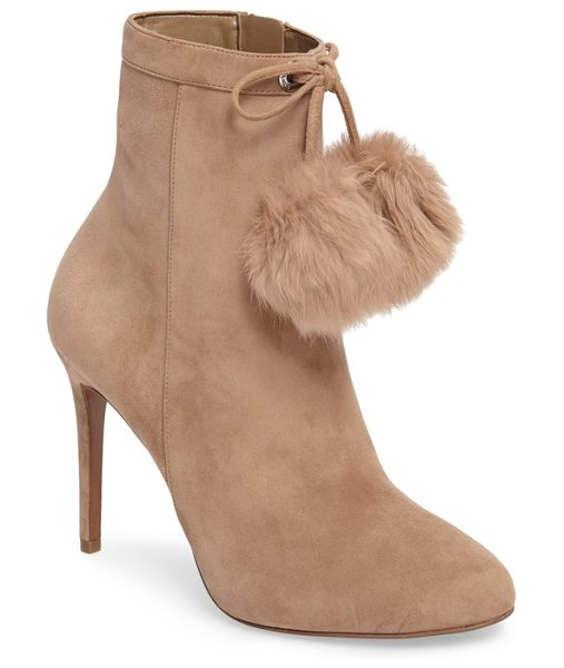 MICHAEL Michael Kors remi bootie with genuine rabbit fur pom in light khaki suede - An almond-toe bootie lifted by a sleek stiletto features...