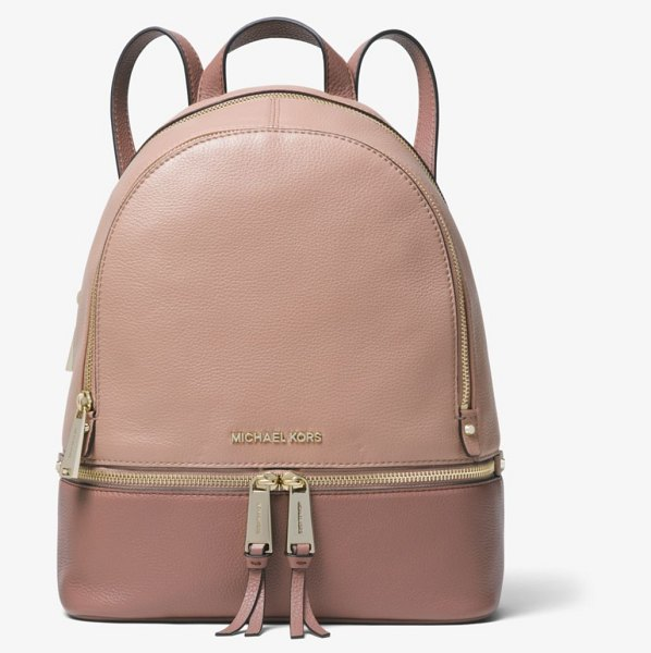 MICHAEL Michael Kors Rhea Medium Color-Block Pebbled Leather Backpack in natural - Laid-Back Yet Luxe Our Rhea Backpack Redefines Big-City...