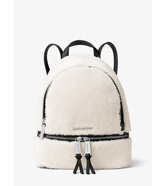 MICHAEL Michael Kors Rhea Small Shearling And Leather Backpack in natural - Laid-Back Yet Luxe Our Rhea Backpack Redefines Big-City...