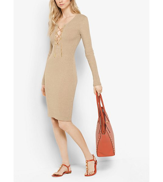 MICHAEL Michael Kors Ribbed Lace-Up Dress in natural - A Chain-Link Lace-Up Bodice Punctuates This Dress With...