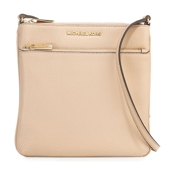 MICHAEL Michael Kors Riley Small Leather Crossbody Bag in tan - MICHAEL Michael Kors flat crossbody bag in pebbled...