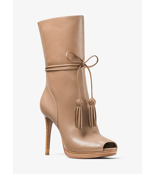 MICHAEL Michael Kors Rosalie Leather Open-Toe Mid-Calf Boot in natural - Set On A Slim Stiletto Heel Our Rosalie Mid-Calf Boots...