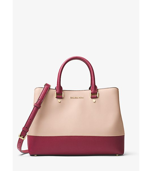 MICHAEL Michael Kors Savannah Color-Block Saffiano Leather Satchel in pink