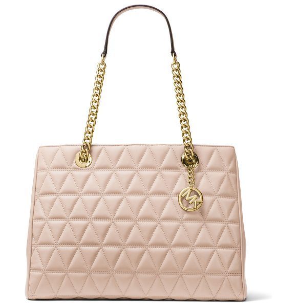 MICHAEL Michael Kors Scarlett Large Quilted Tote Bag in pink - MICHAEL Michael Kors quilted lambskin tote bag. Golden...