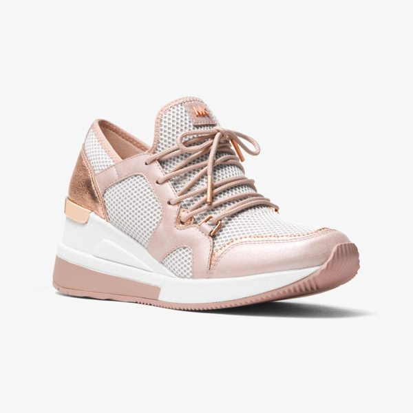 MICHAEL Michael Kors Scout Leather And Mesh Sneaker in pink - Give Casual Looks A Sporty Touch With Our Scout Sneakers...