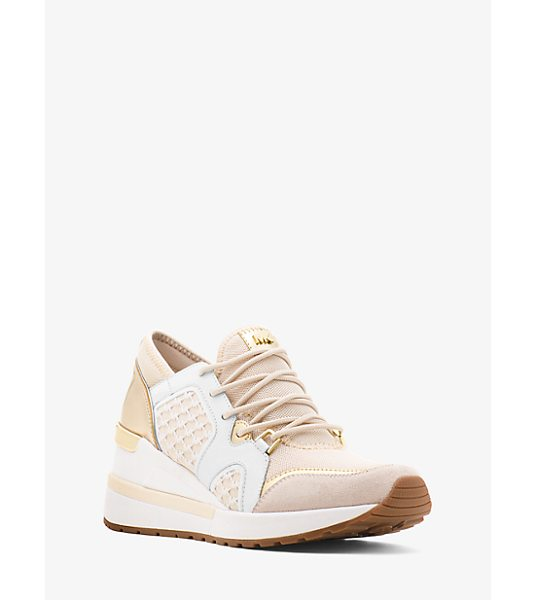 MICHAEL Michael Kors Scout Mesh Logo Trainer in gold - Mesh Paneling And A Supportive Sole Combine For A...