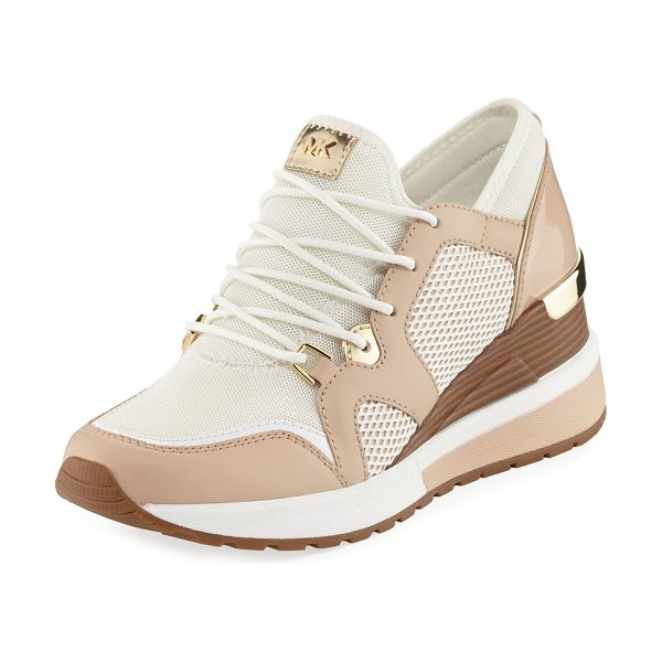 MICHAEL MICHAEL KORS Scout Mixed-Mesh Wedge Trainer Sneaker - MICHAEL Michael Kors mesh trainer with faux-patent...