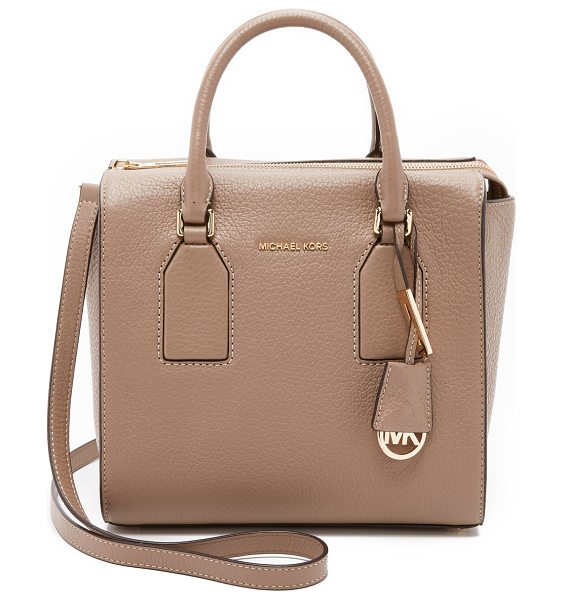 MICHAEL Michael Kors Selby medium satchel in dark dune - A boxy MICHAEL Michael Kors tote in pebbled leather. The...