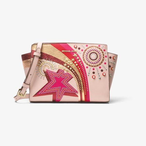 MICHAEL Michael Kors Selma Embellished Leather Crossbody in pink