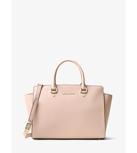MICHAEL Michael Kors Selma Large Saffiano Leather Satchel in pink - Architectural And Unique This Spacious Satchel Adds...