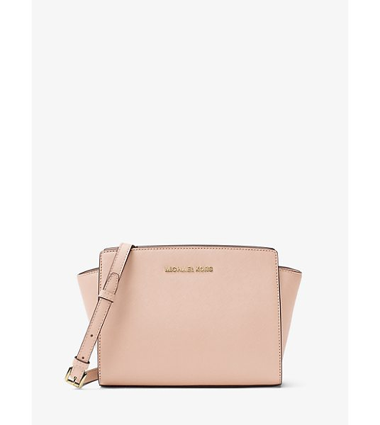 MICHAEL Michael Kors Selma Medium Metallic Leather Crossbody in pink - Our Selma Crossbody Is Designed In A Structured...