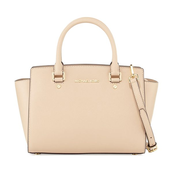 MICHAEL Michael Kors Selma Medium Top-Zip Satchel Bag in oyster - MICHAEL Michael Kors saffiano leather satchel bag....