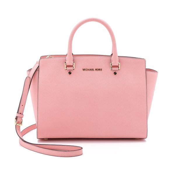 MICHAEL Michael Kors Selma large top zip satchel in pale pink - A luxe saffiano leather MICHAEL Michael Kors satchel in...