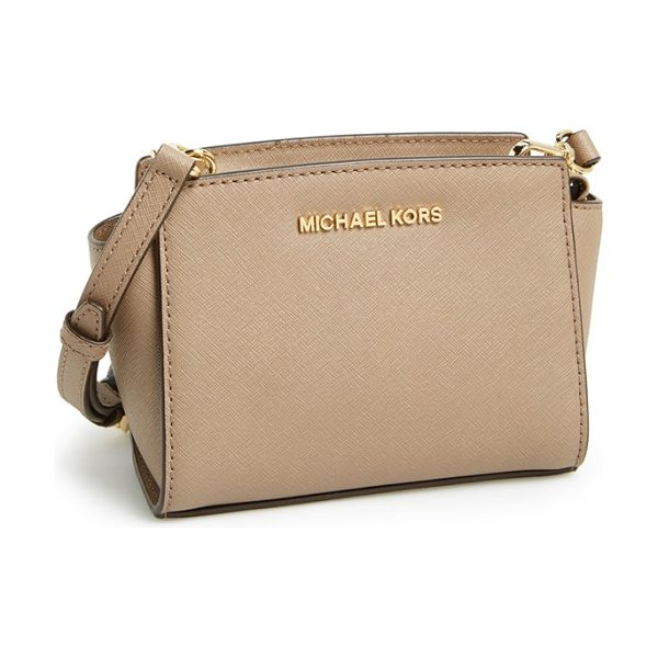 MICHAEL Michael Kors Selma in dk dune - Sophisticated Saffiano leather shapes a sleek little...