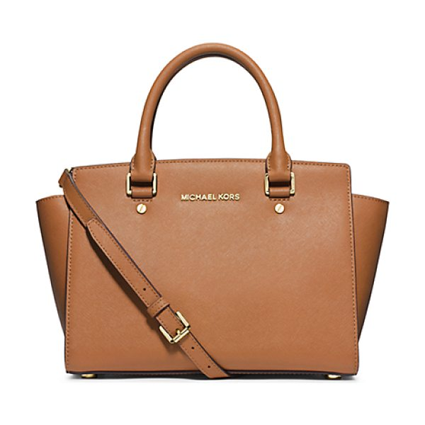 MICHAEL Michael Kors Selma Saffiano Leather Medium Satchel in brown - Get A Handle On Timeless Style With Our Treasured Selma...