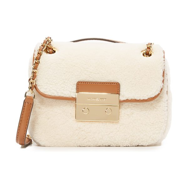 MICHAEL Michael Kors Shearling sloan small shoulder bag in natural/walnut