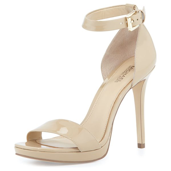 "MICHAEL Michael Kors Sienna Patent d'Orsay Sandal in nude - MICHAEL Michael Kors patent leather sandal. 4"" covered..."