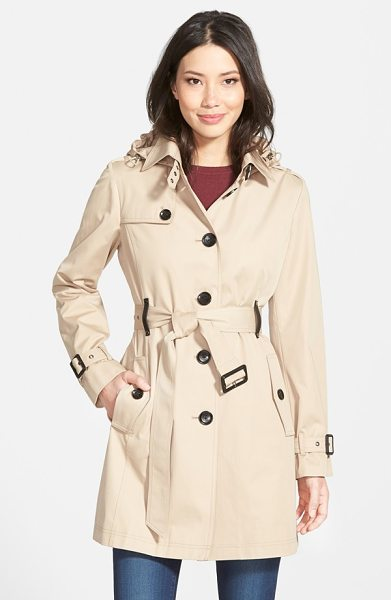 MICHAEL Michael Kors single breasted raincoat in british khaki - Timeless trench styling defines a single-breasted...