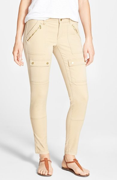 MICHAEL MICHAEL KORS skinny canvas cargo pants - Gleaming goldtone hardware, including ankle zippers,...