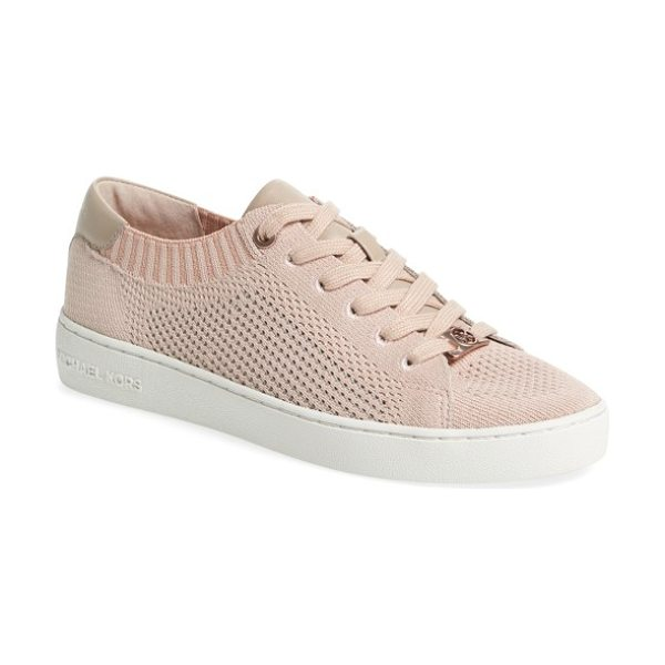 MICHAEL Michael Kors skyler knit sneaker in soft pink nappa leather - Updated athleisure is in the details of this low-top...
