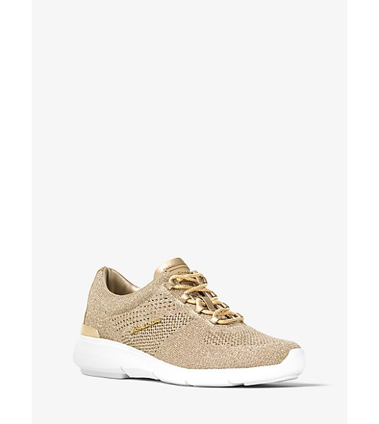 MICHAEL Michael Kors Skyler Metallic Knit Trainer in gold - A Flexible Glittering Knit Design Infuses Our Skyler...