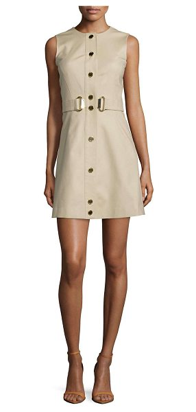 "MICHAEL MICHAEL KORS Sleeveless belted fit-&-flare dress -  MICHAEL Michael Kors twill dress. Approx. length: 32""L..."