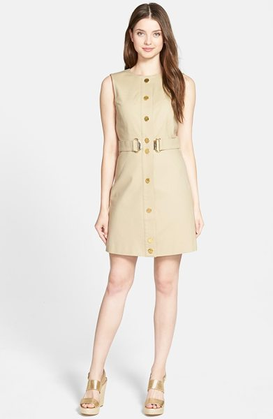 MICHAEL Michael Kors sleeveless d-ring sheath dress in khaki - Perfect polish for summer days at the office, a slim...