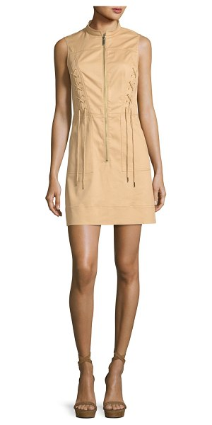 MICHAEL MICHAEL KORS Sleeveless Lace-Up Zip-Front Dress - MICHAEL Michael Kors stretch-cotton minidress with lace-up...