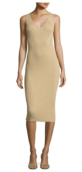 MICHAEL Michael Kors Sleeveless Ribbed Metallic Sweater Dress in khaki - MICHAEL Michael Kors ribbed metallic sweater dress. V...