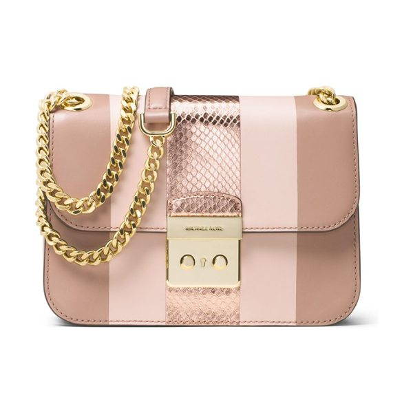MICHAEL Michael Kors sloan editor medium striped leather & metallic snakeskin chain shoulder bag in fawn-ballet - Boxy striped bag inset with metallic snakeskin panel....