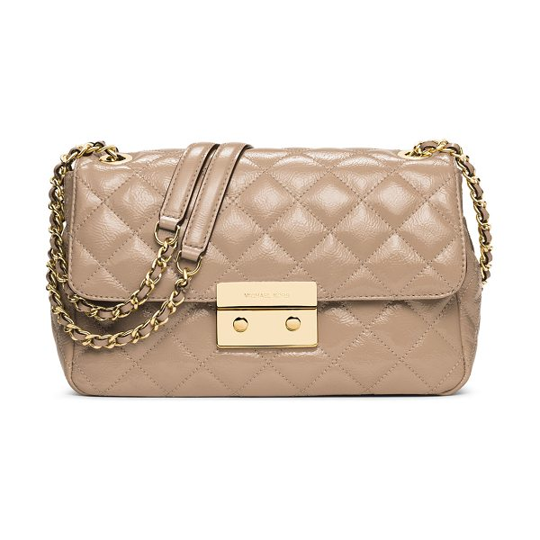 MICHAEL Michael Kors Sloan large chain shoulder bag in bisque - MICHAEL Michael Kors quilted patent leather shoulder...