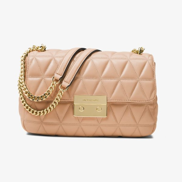 MICHAEL Michael Kors Sloan Large Quilted-Leather Shoulder Bag in natural
