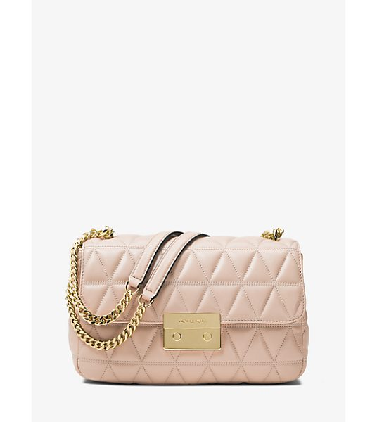 MICHAEL Michael Kors Sloan Large Quilted-Leather Shoulder Bag in pink