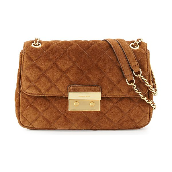 MICHAEL Michael Kors Sloan large quilted suede shoulder bag in dark caramel