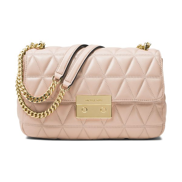 MICHAEL Michael Kors Sloan Quilted Leather Shoulder Bag in pink - MICHAEL Michael Kors triangle quilted leather shoulder...