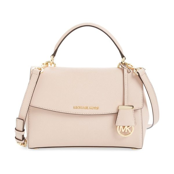 MICHAEL Michael Kors Small ava saffiano leather satchel in ballet/ gold - Rich Saffiano leather composes a structured,...