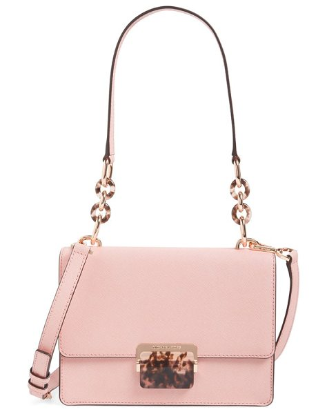 MICHAEL Michael Kors Small cynthia saffiano leather shoulder bag in pale pink/ rose gold