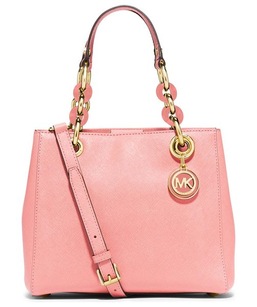 MICHAEL MICHAEL KORS Small cynthia satchel in pale pink - Gleaming, logo-embossed hardware and mixed-link chain...