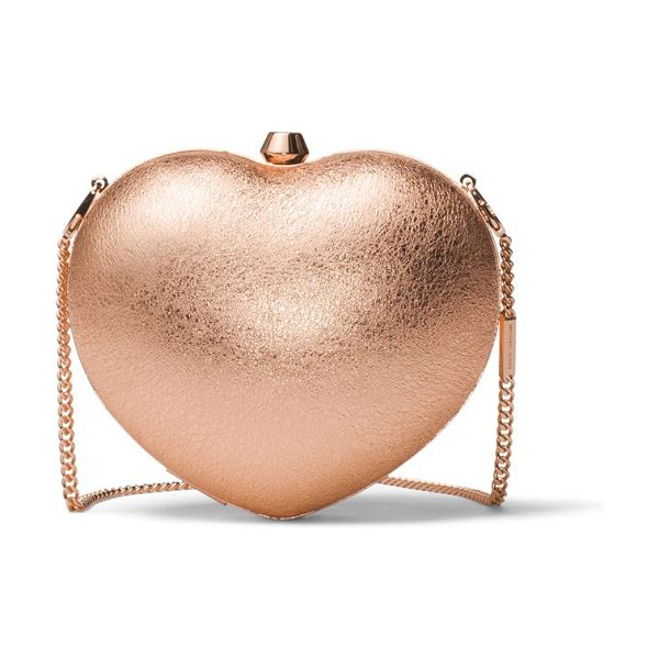 MICHAEL Michael Kors small heart box clutch in soft pink - Rose gold clutch in the shape of a heart. Shoulder...