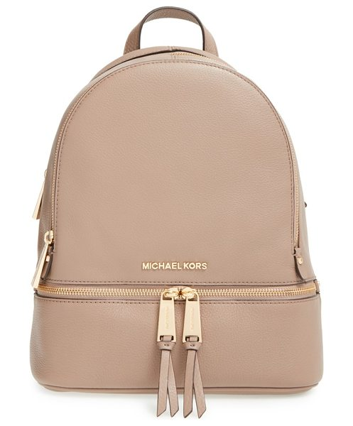 MICHAEL Michael Kors Extra small rhea zip leather backpack in dark dune - Gleaming exposed zippers illuminate the compact...