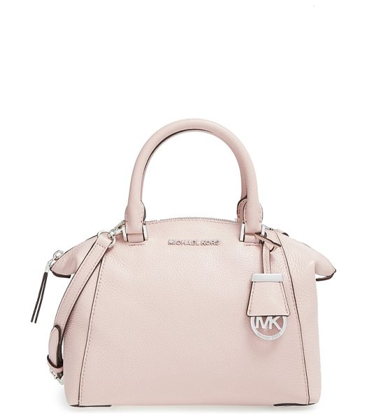 MICHAEL Michael Kors Small riley satchel in ballet/ silver - Supple pebbled leather in the season's hottest hue is...